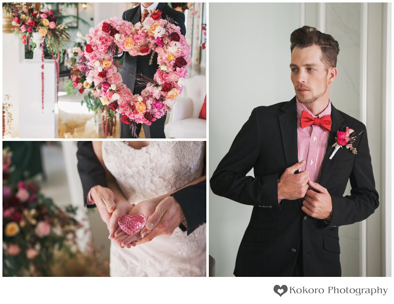Colorado Wedding Photography, Colorado Wedding Photography, Denver Wedding Photographer, Groom Portraits, Pink and Gold, Heart Bouquet, Highlands Ranch Mansion,Kokoro Photography,