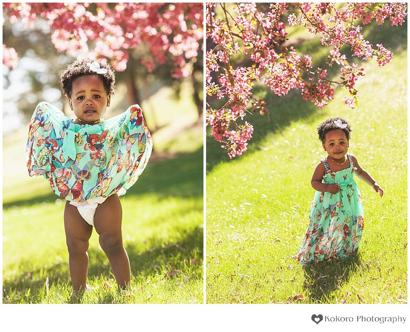 Littleton Baby Photography, Littleton Family Photographers, Babies in the Spring, Colorado Blossom Pictures, Crabapple Blossoms, Butterfly Dress